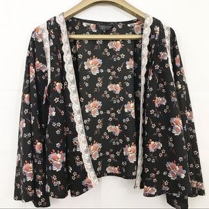 TOPSHOP Shirt Open Front Floral Bell Sleeves Top